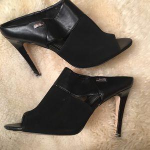 Calvin Klein open toe slip on heels black size 8.5